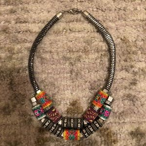 Zara Double Layer Embroidered & Metal Necklace